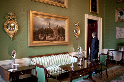 East Wing Rules Gorgeous Green Room In Silk